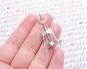 Large Wine Key Opener Charm Sterling Silver Pendant for Wine Lovers Bottle Opener Charm