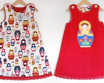 MATRYOSHKA girl reversible jumper dress with hand embroidered applique, girl linen dress matryoshka dolls, toddler red jumper dress