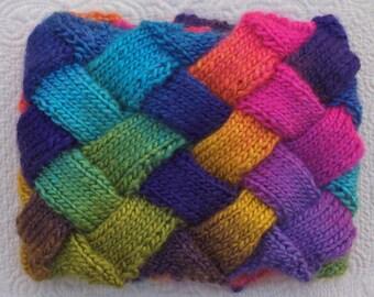 Entrelac Hand Knit Scraf Ready to ship