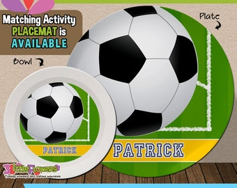 Soccer Plate and Bowl Set - Personalized Melamine Children Plate Cereal Bowl - Player Plate and Bowl - Sports Party - Kids Sports Plate