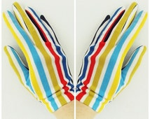 vintage 1950s stripe gloves/ 1960s mod gloves/ 50s summer gloves