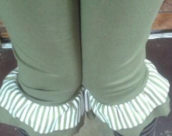 Olive Green Hemp/organic cotton luna pants with ruffle stripe detail