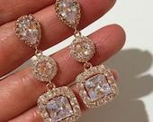 Rose Gold Bridal Earrings, Square Princess Cut, Pave Cubic Zirconia Cz Jewelry, DIAMANTE