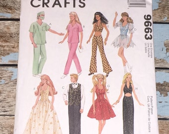 Mccalls Crafts 9663 Fashion Doll Clothes 11.5 12.5 Dolls Sewing Pattern UNCUT