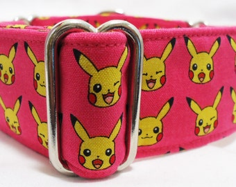 The Many Faces of Pikachu Pink Greyhound, Whippet, Galgo, Pit Bull, Dog, Sighthound, Martingale Collar