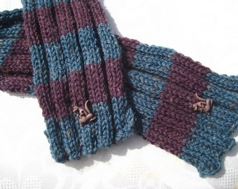 Hand knitted little boy's scarf with kangaroo embellishments