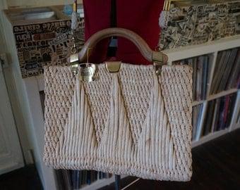 vintage straw shoulder bag handbag pin up tiki hawaii hawaiian vlv rockabilly
