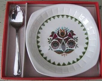 "Royal Worcester Palissy ""Contessa"" Dish & Spoon In Box - Scandinavian Style Retro - 1970s"