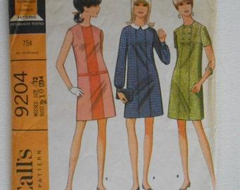 Vintage 60s Misses Mod Contrast Front Panel Seam Shift Dress Sewing Pattern McCalls 9204 Size 12 Bust 34