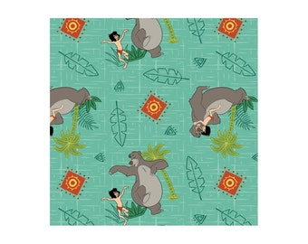 Jungle Book Baloo & Mowgli Fern Disney cotton woven by the yard