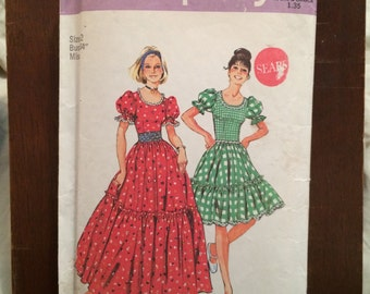 Simplicity Sewing Pattern 6452 Pesant dress in 2 lengeths sz 12 Bust 34""