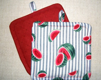 Watermelon, Insulated Pot Holders, Set of 2, Hot Pad, Trivet, Potholder, For the Kitchen, For the Cook, Made in America