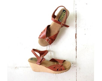 Vintage Wedge Sandals / Rapallo / 70s Wedges / 1970s Sandals / Size 8