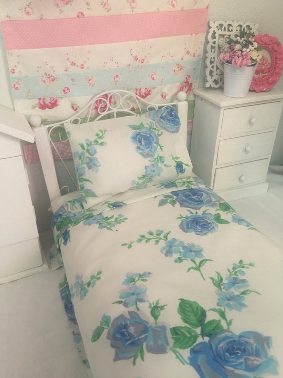 American Girl Doll Vintage Blue Roses Sheet set