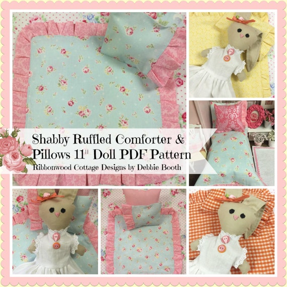 "Sewing Pattern PDF Shabby Doll Ruffled Comforter and Pillows PATTERN - 11"" DOLL"