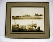Antique Cabinet Card Farming Photo Split Image Thresher Tractors Farmers African American Photograph Grant County Washington