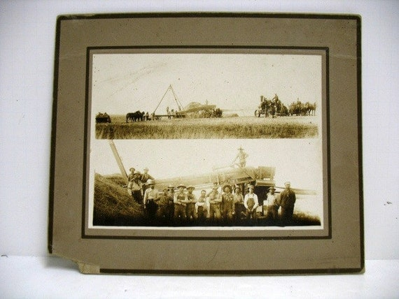 Antique Cabinet Card, Farming Photo Split Image, Thresher Tractors Farmers African American Photograph, Grant County Washington