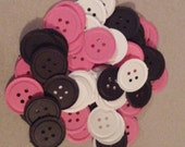 Cute Bright Pink, White, and Black Paper Buttons, 75, Great for card making, scrapbook page accent, die cuts