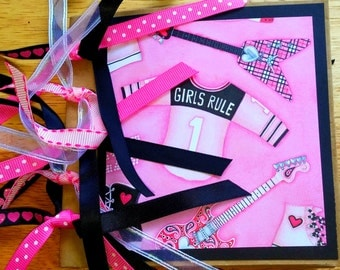 Girls Rock Paper Bag Scrapbook Album, Mini Album, Premade Pages, Paperbag, Pink White Black