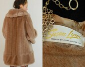 25% off every sunday sale Vintage 60s Light Mocha Made in the USA Faux Fur Vegan Retro Glam Princess Coat (s m l)