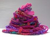 bird of paradise fiber effects™  12yd specialty ribbon fiber art yarn bundle  . hot pink red-orange purple . mixed yarn pack fiber sampler