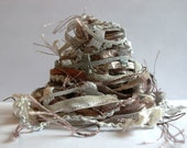 wood smoke fiber effects™  12yd specialty ribbon art yarn bundle  . embellishment fibres trim . taupe gray beige cream silver neutral pack
