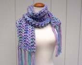 monet sky. handknit scarf . chunky knit vegan friendly fashion scarf . lavender lilac purple periwinkle aqua blue . sequin sparkle scarf