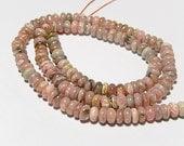 Rhodochrosite Gemstone.  Smooth Rondelles, 5.5mm. Semi Precious Gemstone. Strand Your Choice  (jrhd)
