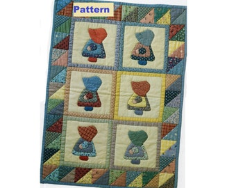 "Sunbonnet Sue Quilt PATTERN, Wall Hanging, Doll Quilt, 16"" x 22"" Instant dowload PDF, Fabric Scrap Craft, Applique"