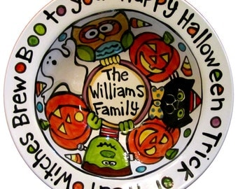 Custom Designed and Made just for you BIG Ceramic Candy Halloween Serving Bowl OR platter