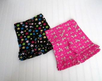 Pink Bow Print Knit Ruffle Shorties...Ready to Ship