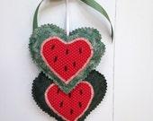 Watermelon Heart Hangings, Valentine Hearts Wall hanging, Fabric Hearts Wall Hanging, Wall Decorations