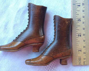 TREEN, Hand Carved (rare) Pair of Shoes, Heirloom Quality