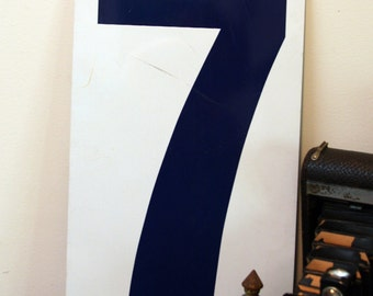 Vintage METAL NUMBER- 8 OR 7- Gas Station Signage- Blue & White Eight or Seven