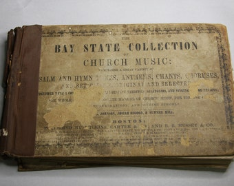 Antique HYMNAL- Church Music 1849- Sepia Toned Pages- Old Music Notes- Collage Supply