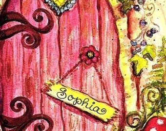 Nursery wall art, Fairy Door art, Painted Fairy door, Personalized Fairy door, Fairy wall art,