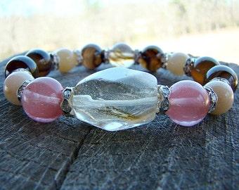 Beaded Bracelet, Stacked Bracelet, Stretch Bracelet, Bracelet, Quartz Bracelet, Stack Bracelet, Gemstone Bracelet, Bead Bracelet, Chunky