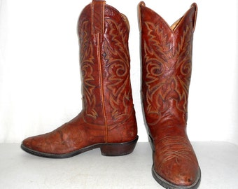Mens 9 D Cowboy Boots Justin Brown Rustic Country Shoes Indie Boho Womens 10.5