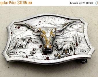 SALE Vintage Lytone Belt Buckle - western wear - steer horns - cattle - Leavens