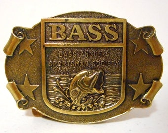 Bass Anglers Sportsman Society Belt Buckle Star Fishing Fisherman Outdoors