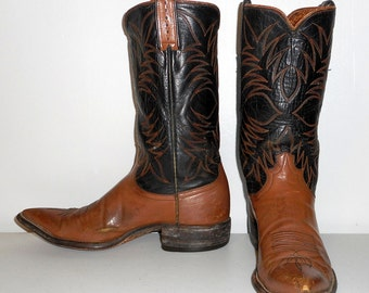 Mens Size 9 B Cowboy Boots Justin Black Tan Narrow Distressed Western Rockabilly Shoes