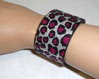 Pink Leopard Silver Reclaimed Cuff Bracelet Recycled Western Boho Bling Glitter Jewelry