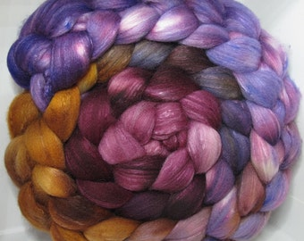 Organic Polwarth/Bombyx 80/20 Roving Combed Top 5oz - Huckleberry Truffle 1
