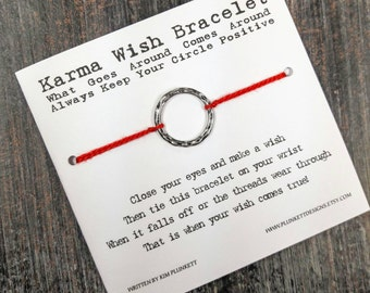 Karma Wish Bracelet - Available In Over 100 Different Colors!!!  (Large Hammered Circle Charm - Silver)