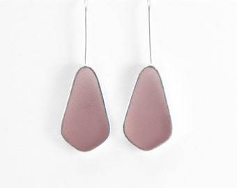 Absolute Earrings in gray/violet resin sterling silver