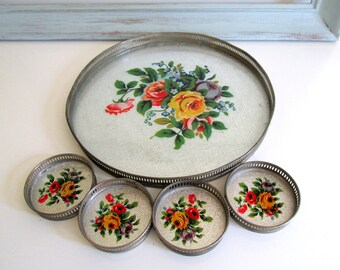 Vintage Glass and Metal Tray with Four Coasters Decorative Mid Century Floral Design Made in Japan