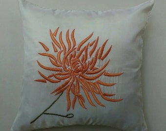 Chrysanthemum cushion cover -White with peach embroidery 18X18 inch decorative pillow