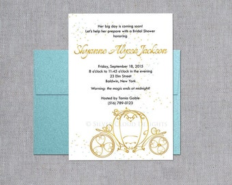 Princess Bridal Shower Invitation - Bridal Shower Invitation with Gold Carriage - White and Gold Bridal Shower Invites with Gold Stagecoach
