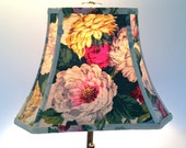 Rose Lamp Shade Lampshade in Vintage Linen, Rectangle Bell 7x12x9.5 - Cottage Style - Treat your self to a beauty!