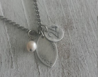 Football Mom Custom Hand Stamped Celebrate Footbal Team Mom Necklace with Freshwater Pearl by MyBella